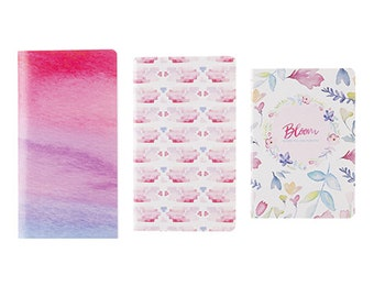 Bloom 3pc Pocket Notebook Set - Spring Abstract Floral Journals - Pink Purple Pastel Watercolor Print Notebooks for School, Work or Travel