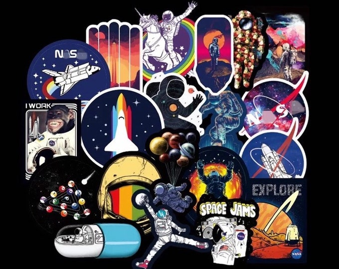 NASA and Chill Sticker Set - Matte Finish - Space Astronaut Galaxy Stars Funny Animal Novelty Stickers - Vinyl Sticker Pack