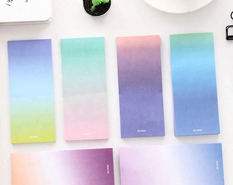 Rainbow Rectangle Sticky Notes - Colorful Gradient Ombre Sticky Notepad