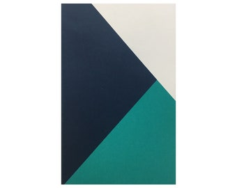"""Arcadia Pocket Journal - 5.5"""" x 3.5"""" - Small Lined Notebook - Patched Teal Navy and White"""