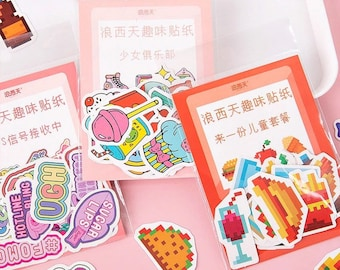 40pc Pop Icon Mini Sticker Pack - Cute, Colorful Flake Stickers