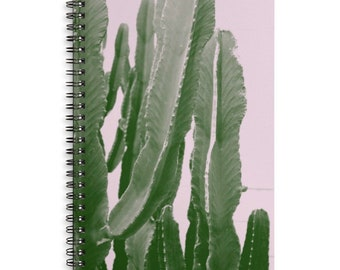 Peachy Cactus Journal - Lined Spiral Bound Notebook