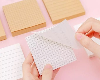 Classic Sticky Notes - Grid, Lined, or Blank - Kraft or White Adhesive Paper Notepads