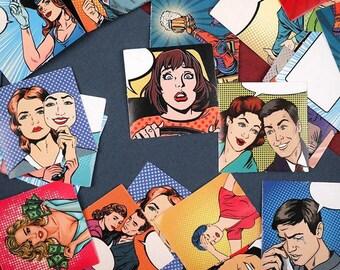 Pop Art Flake Stickers - Comic Book Paper Mini Sticker Box Set