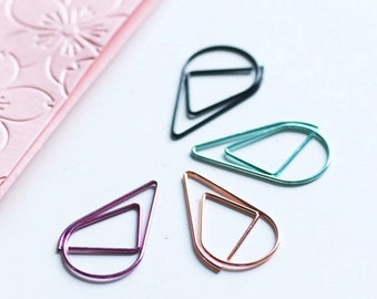 10pcs Teardrop Paper Clips - Large or Small - Rose Gold, Green, or Purple