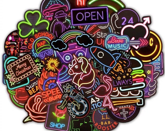 Neon Lights Sticker Pack - Retro 90s Aesthetic Stickers - Bright Glowing Colorful Stickers for Laptops, Bikes, Phones, Water Bottles