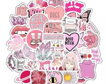 Bubblegum Pink Random Sticker Set - Cute Aesthetic Girlish Pink Summer Stickers