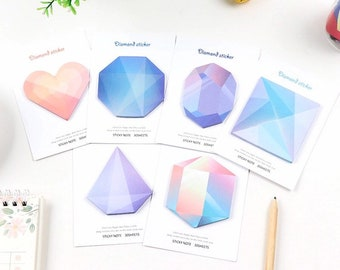 LAST CHANCE - Bright Jewels Sticky Notes - Colorful Gradient Memo Pad - Diamond Prism Heart Cube Crystal Shaped Paper Notepad