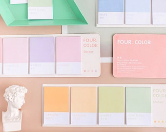 Color Palette Sticky Notes Set - 4pc Memo Note Pads