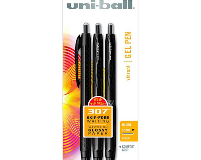 Uniball 307 Gel Pens - 3pk Micro 0.5mm Fine Tip Writing Pens - Vibrant Black Ink - Comfort Grip