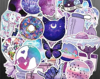 Ultra Violet Sticker Bomb - Magic Galaxy Sticker Set - Girly Retrowave Vaporwave Stickers - For Laptop Water Bottle or Bike - Matte Finish