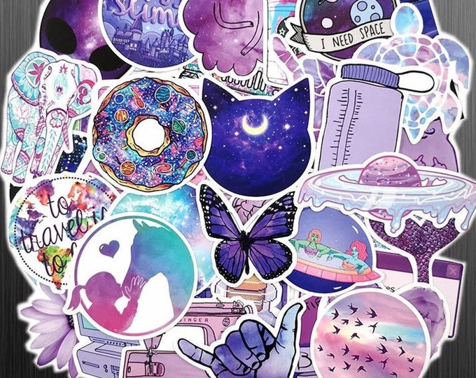 Featured listing image: Ultra Violet Sticker Bomb - Purple Magical Space Galaxy Sticker Set - Funny Cute Girly Stickers - Rainbow Gradient Novelty Stickers