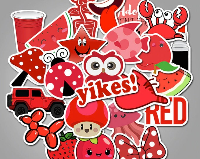 Red Aesthetic Sticker Set - Girlish Funny Cute Pop Art Stickers