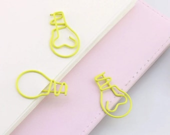 6pc Lightbulb Paper Clips - Neon Yellow