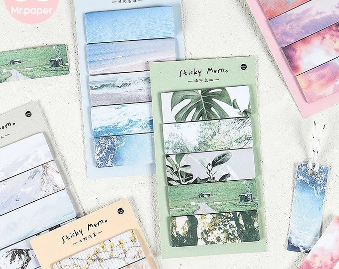 Summer Vibes Page Tabs - Sticky Memo Pad and Book Marker Set - Tropical Beach & Sunset Scenery