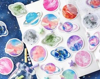 Color Pop Planet Paper Sticker Box Set - 45 Stickers
