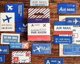Par Avion Sticker Box Set - 46pc Mini Sticker Pack - Paper Stamp Stickers - Flake Stickers