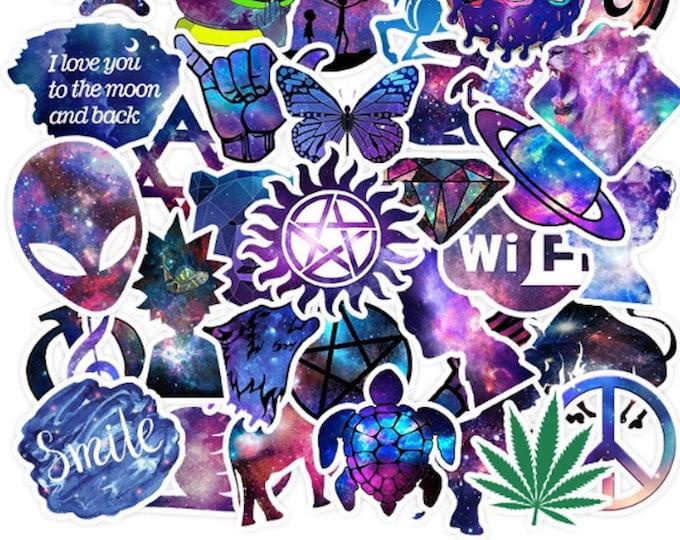 Mystical Purple Aesthetic Sticker Set - Purple Space Galaxy Stickers