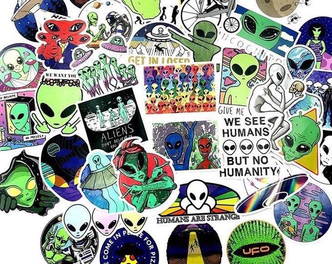 Alien Sticker Set - UFO Sticker Bomb - Set of 2, 5, 10, 20