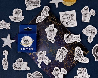 45pc Cosmonaut Paper Stickers - Astronaut in Space Flake Stickers - 45 Piece Sticker Box Set