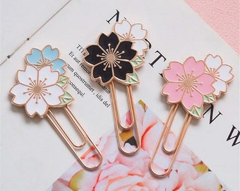 Cherry Blossom Bookmark - Rose Gold Sakura Flower Paper Clip or Page Marker