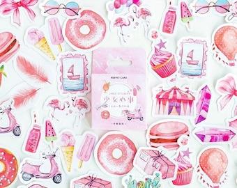Summer Mini Sticker Box Sets - Various Styles - 45 pcs - Tropical Flowers Green Leaves Sweet Treats Travel