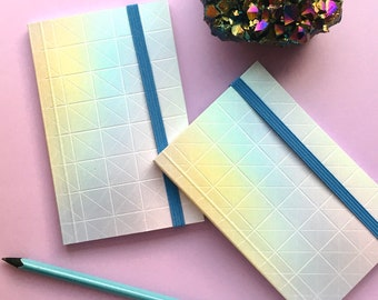 Pearlescent Geo Pocket Journal - 3x5 Small Softcover Notebook