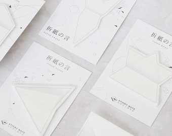 Origami Sticky Notes - 30pc Paper Boat Crane Plane or Envelope - Foldable 3D Memo Pad