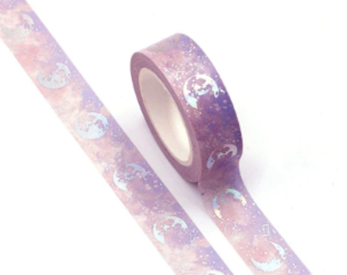 Under the Holo Moonlight Washi Tape - 15mm x 10m - Shiny Holographic Silver and Purple Skies