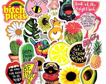 Girl Power Sticker Bomb - 90s Pop Art Girlish Cute Funny Feminist Stickers