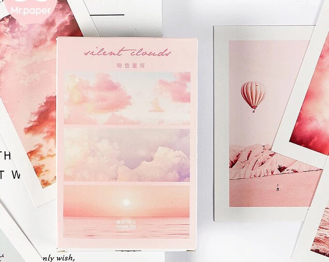 Pink Clouds Art Postcard Set - Pink Aesthetic Beaches, Tropical and Cityscape Scenes