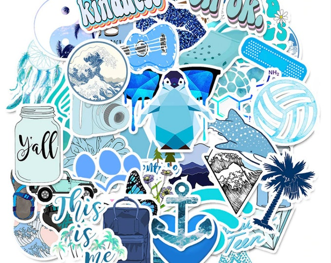 Blue Aesthetic Plastic Sticker Set