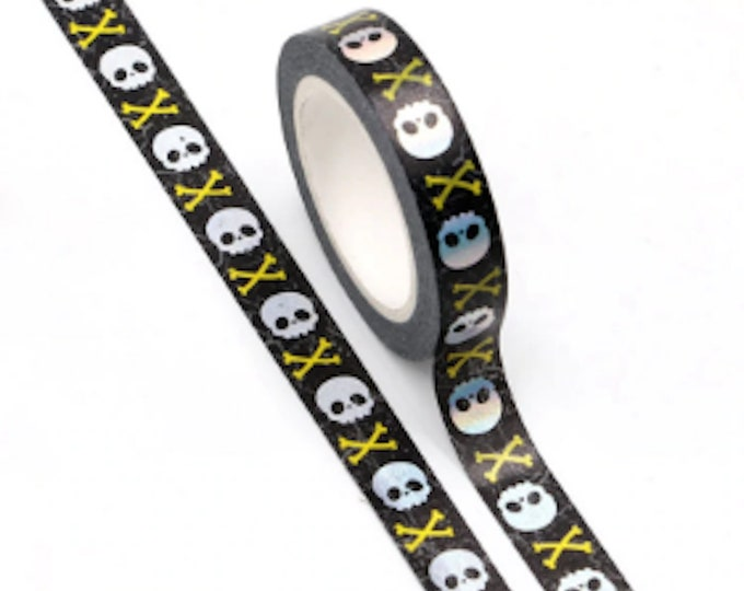 Skull & Crossbones Washi Tape - 10mm x 10m - Slim Black Paper Tape with Shiny Silver and Yellow Foil