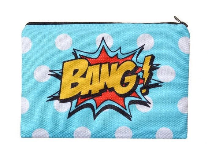 Bang Bang! Pencil Case - Retro Pop Art Storage Bag for School, Work, Beauty or Travel