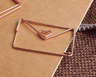 Lovely Letter Paper Clips - Rose Gold Paper Clips in Envelope Shape