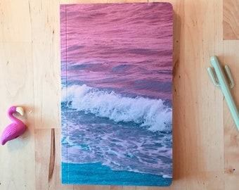 Dream Beach Custom Journal - Pink Ocean Notebook for School, Bullet Journal or Art - Choose Your Size and Paper Type