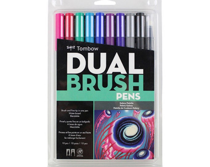Tombow Professional Dual Brush Pens - Galaxy Palette - Blendable & Water-Based Dual-Tip Brush and Fine Tip Pen Set