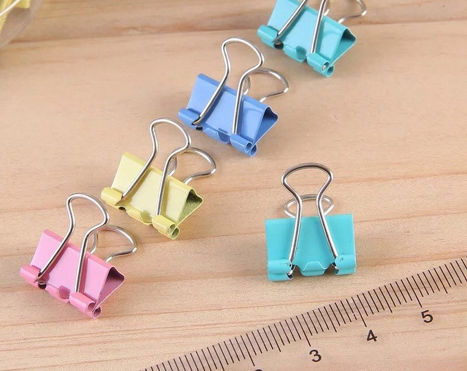 Pastel Mini Clips - 10pc Binder Clamp Paper Clips 0.5 in Bright Pastel Colors - Pink Green Blue and Yellow - School Home and Office Supplies