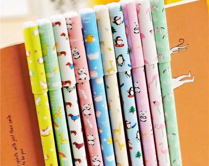10pc Cute Animal Gel Pen Set - Color Ink Writing Pens with Carrying Case