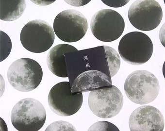 Lunar Cycles Sticker Set - 45 Pcs Box Set - Small Celestial Moon Flake Stickers