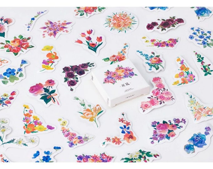 Flower Garden Sticker Box Set - 45pc Colorful Spring Bouquets and Floral Garland Stickers