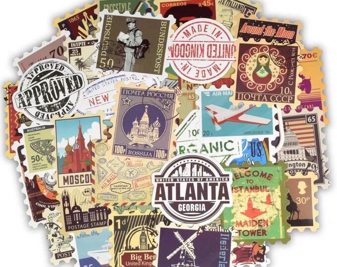 World Travel Stamp Sticker Set