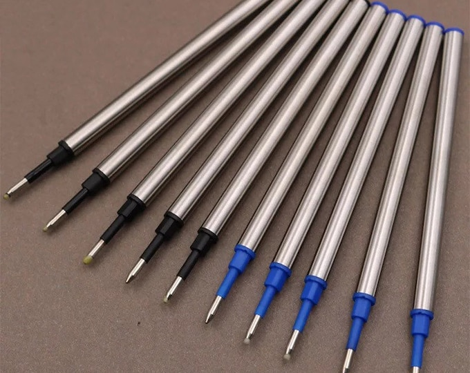 11cm Metal Barrel Rollerball Ink Refill with 0.5mm Tip in Blue or Black Ink
