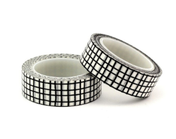 Black & White Handdrawn Grid Washi Tape - 15mm x 10m