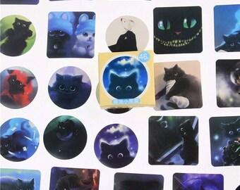 Spooky Cat 46pc Sticker Box Set - Mini Sticker Pack - Paper Stickers - Flake Sticker