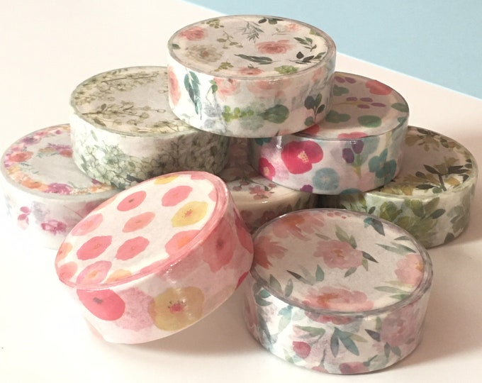 8pc Floral Washi Collection - Flower Blooms Green Vines Poppies Garlands and Rose Buds