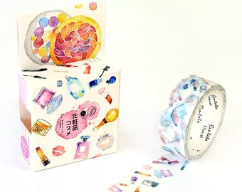 Makeup Washi Tape - Cute Cosmetics - Perfume Bottles Lipstick and Palettes