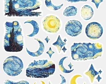 Starry Night Sticker Pack - Van Gogh Stickers - Small Paper Sticker Set