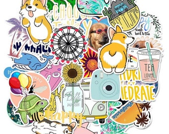 Summer Aesthetic Random Sticker Set - Colorful Cute Retro Summertime Animal VSCO Stickers - Choose A Set Of 2, 5, 10 or 20 Stickers