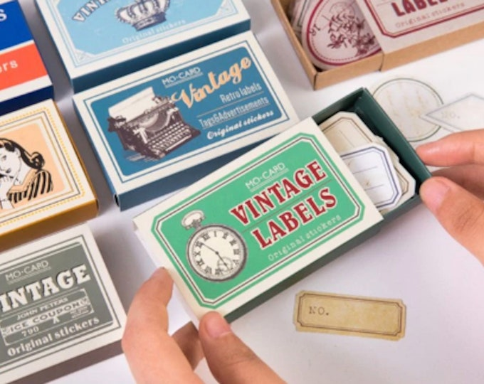 60pc Vintage Labels Sticker Box Set